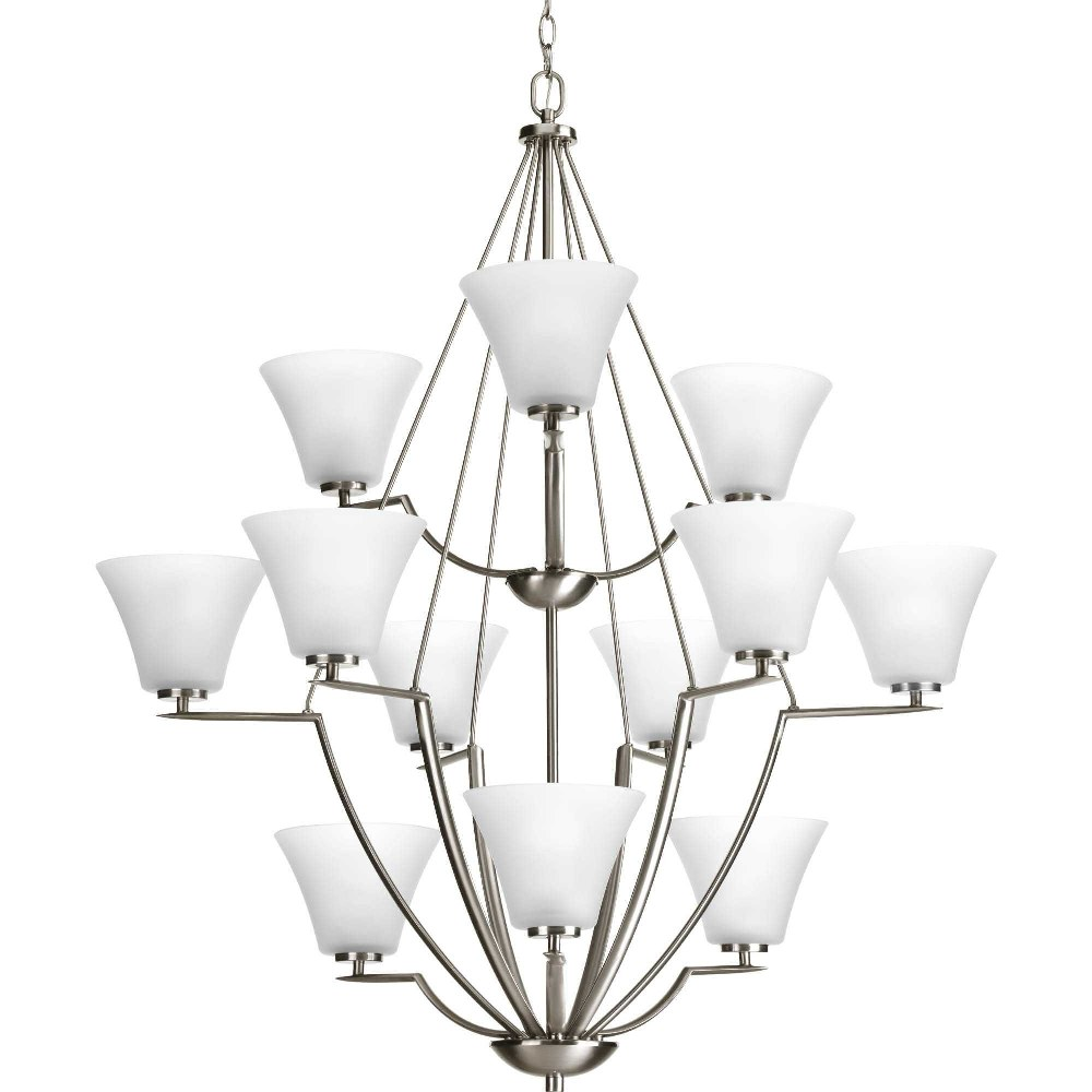 Progress Lighting-P4687-09-Bravo - 44 Inch Height - Chandeliers Light - 12 Light - Line Voltage  Brushed Nickel Finish with Etched Glass