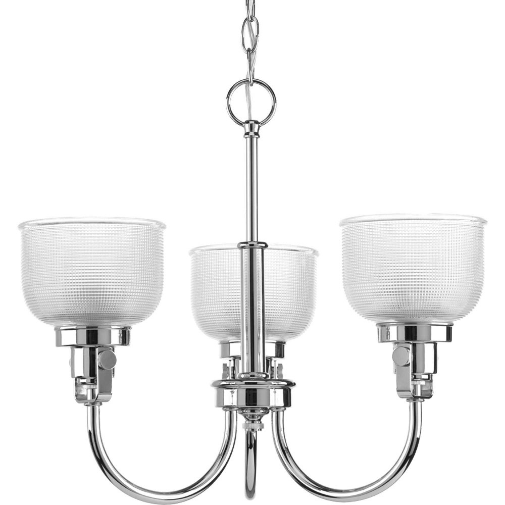 Progress Lighting-P4688-15-Archie - Three Light Chandelier  Chrome Finish with Clear Prismatic Glass