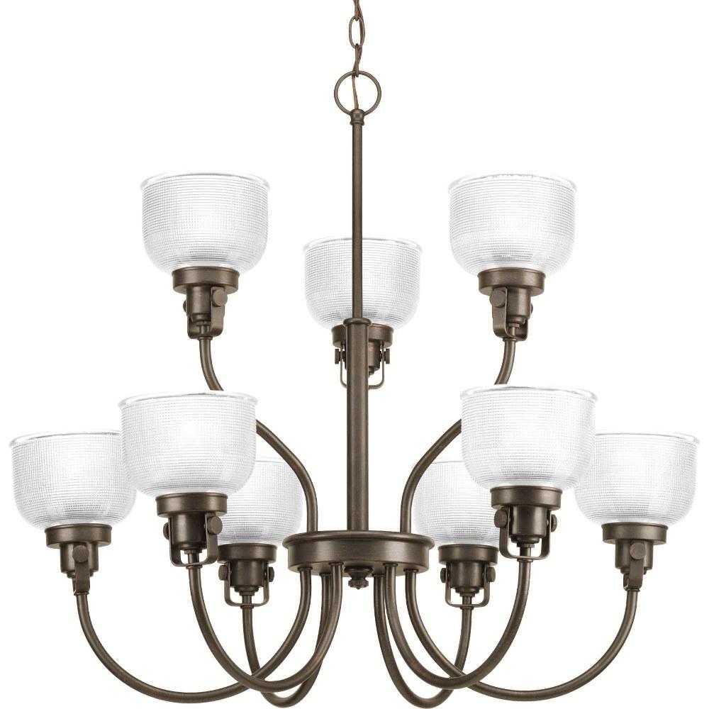 Progress Lighting-P4690-74-Archie - Nine Light 2-Tier Chandelier  Venetian Bronze Finish with Clear Prismatic Glass