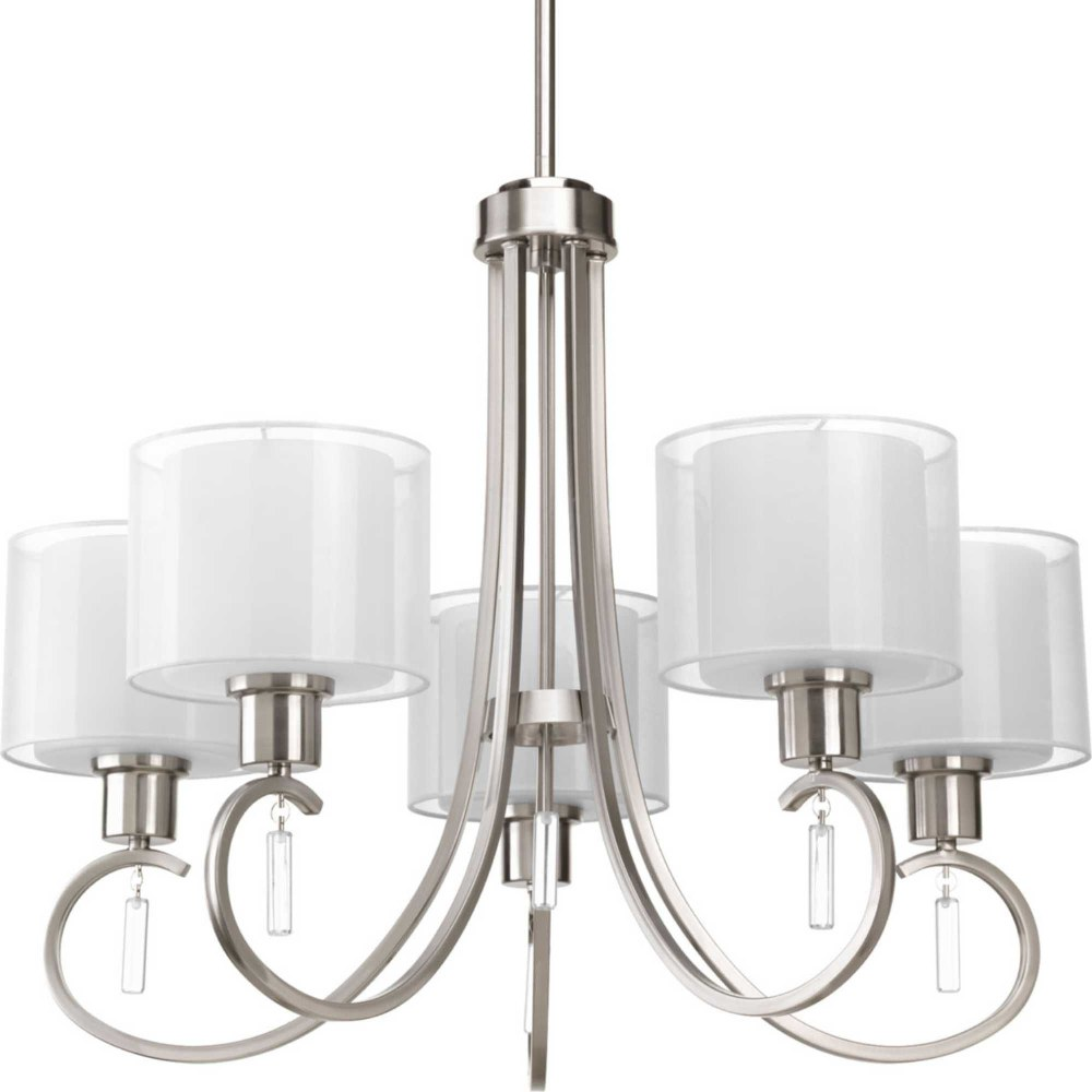 Progress Lighting-P4696-09-Invite - 20.75 Inch Height - Chandeliers Light - 5 Light - Line Voltage  Brushed Nickel Finish with White Glass with Silk Mylar Shade