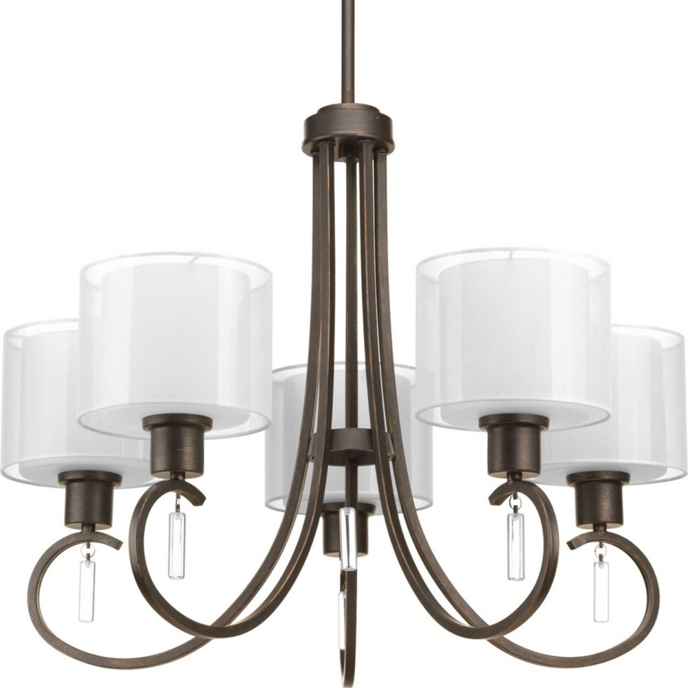 Progress Lighting-P4696-20-Invite - 20.75 Inch Height - Chandeliers Light - 5 Light - Line Voltage  Antique Bronze Finish with White Glass with Silk Mylar Shade