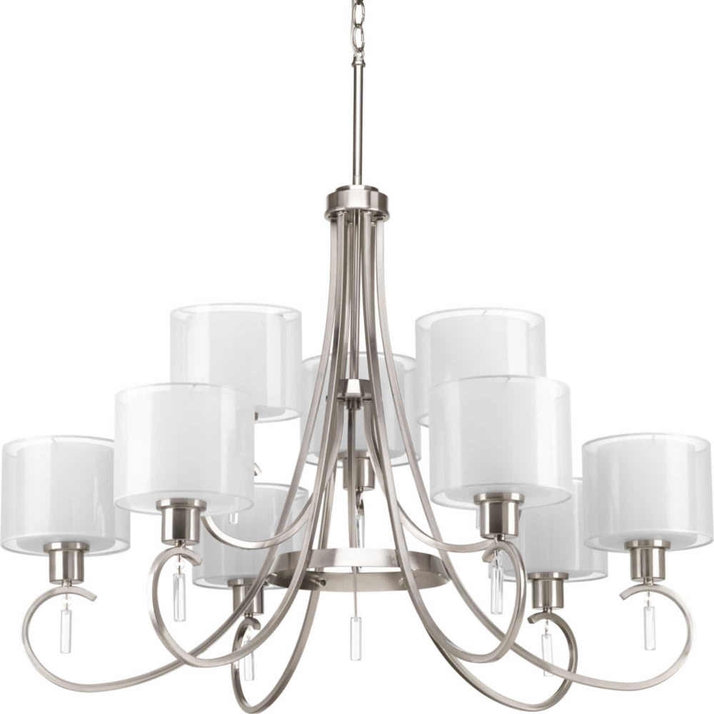 Progress Lighting-P4697-09-Invite - 26.5 Inch Height - Chandeliers Light - 9 Light - Line Voltage  Brushed Nickel Finish with White Glass with Silk Mylar Shade