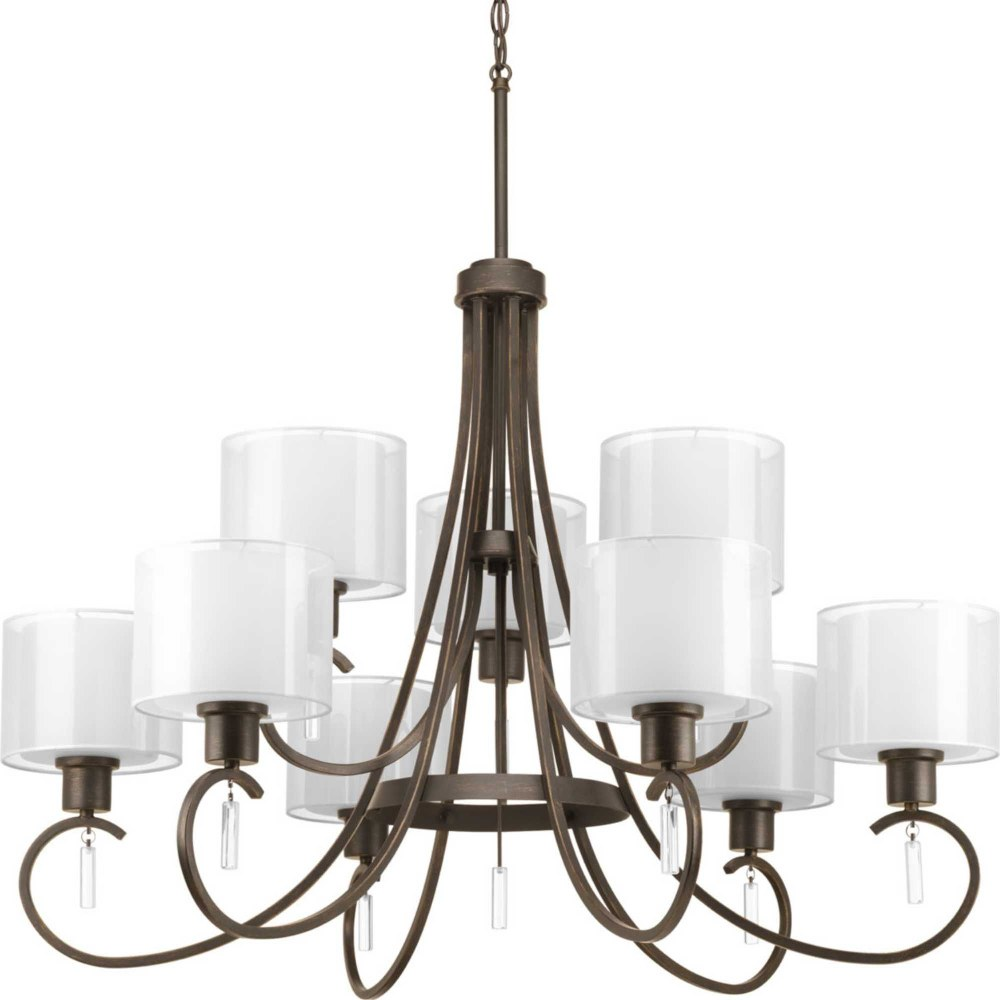 Progress Lighting-P4697-20-Invite - 26.5 Inch Height - Chandeliers Light - 9 Light - Line Voltage  Antique Bronze Finish with White Glass with Silk Mylar Shade