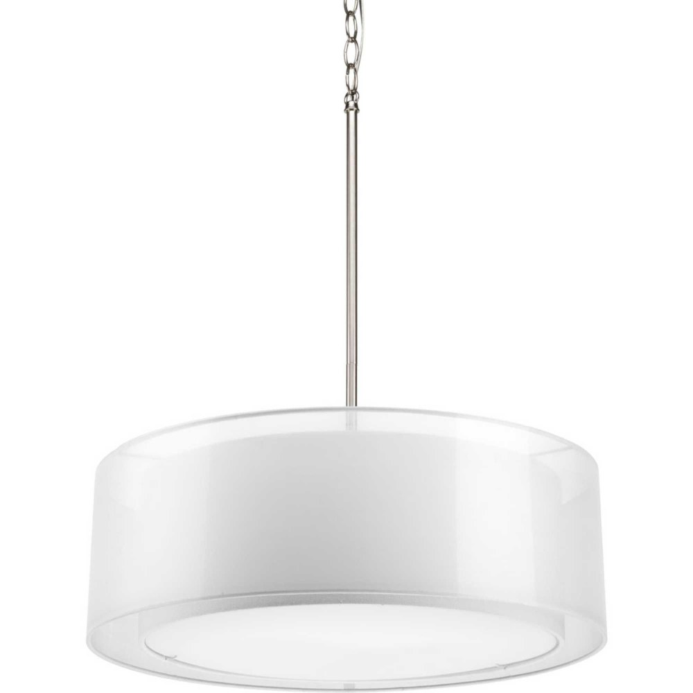 Progress Lighting-P5037-09-Cuddle - 7.25 Inch Height - Pendants Light - 3 Light - Line Voltage  Brushed Nickel Finish with White Glass with Mylar Linen Shade