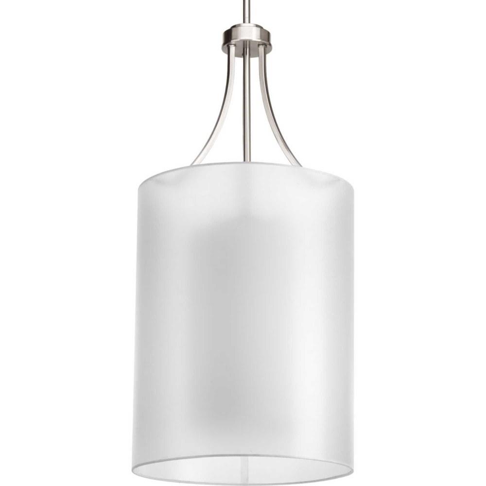 Progress Lighting-P5046-09-Invite - Two Light Drum Foyer  Brushed Nickel Finish with White Glass with Silk Mylar Shade