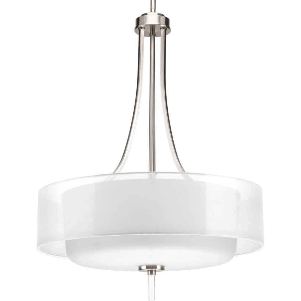 Progress Lighting-P5047-09-Invite - 20 Inch Width - 4 Light - Line Voltage  Brushed Nickel Finish with Frosted Glass with Silk Mylar Shade