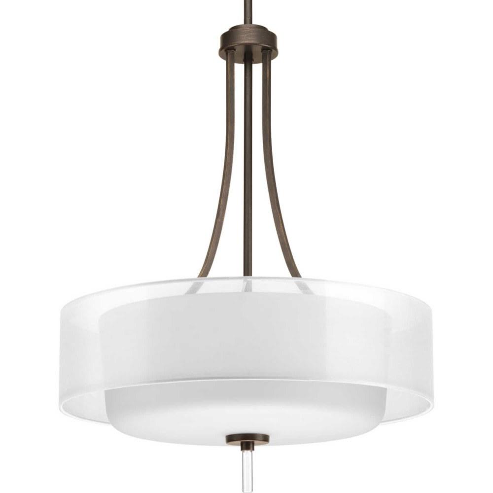 Progress Lighting-P5047-20-Invite - 20 Inch Width - 4 Light - Line Voltage  Antique Bronze Finish with White Glass with Silk Mylar Shade