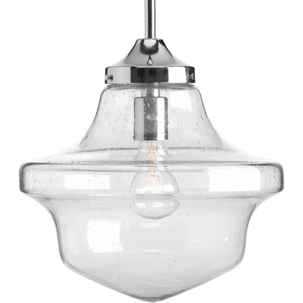 Progress Lighting-P5138-15-Academy - 12.75 Inch Height - Pendants Light - 1 Light - Line Voltage  Polished Chrome Finish with Clear/Light Seeded Glass