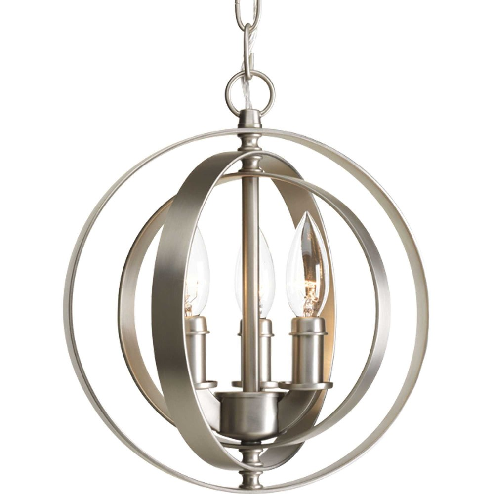Progress Lighting-P5142-126-Equinox - 11.75 Inch Height - Pendants Light - 3 Light - Line Voltage  Burnished Silver Finish