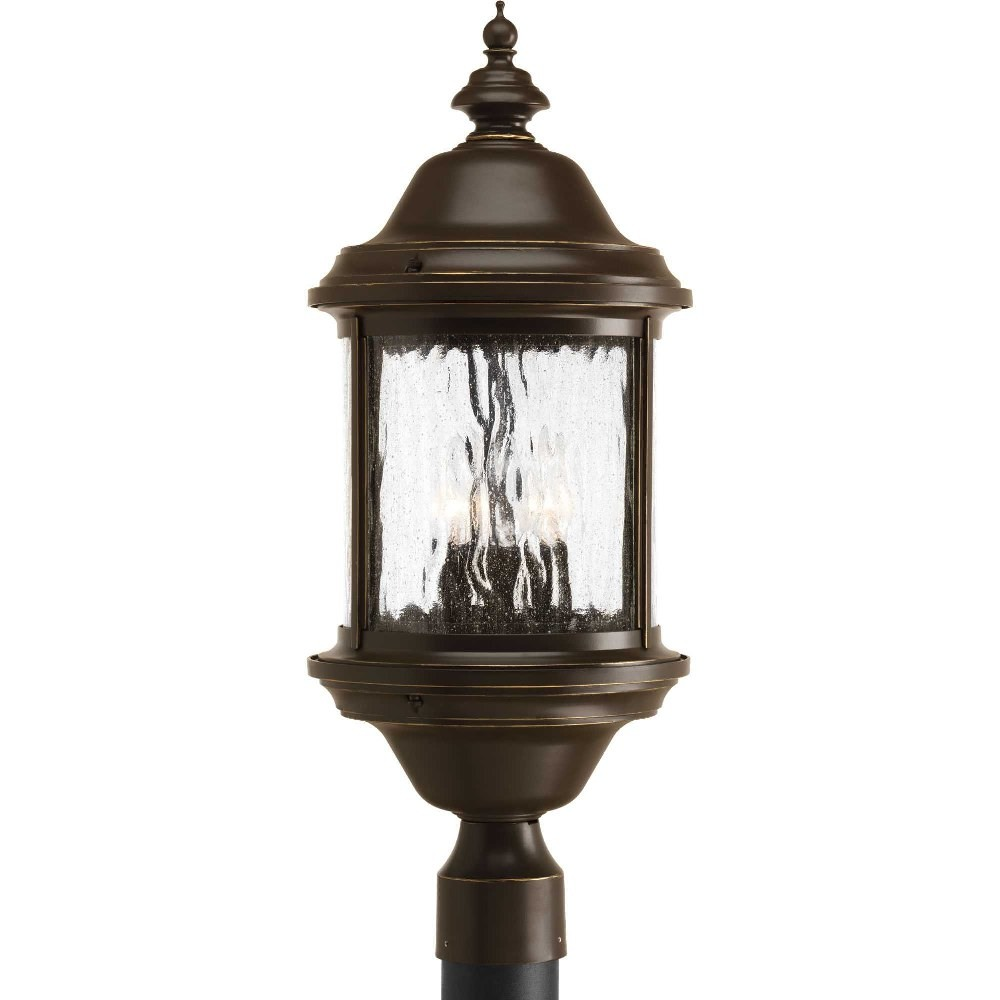 Progress Lighting-P5450-20-Ashmore - 23.75 Inch Height - Outdoor Light - 3 Light - Curved Panels Shade - Line Voltage - Wet Rated  Antique Bronze Finish with Water Seeded Glass