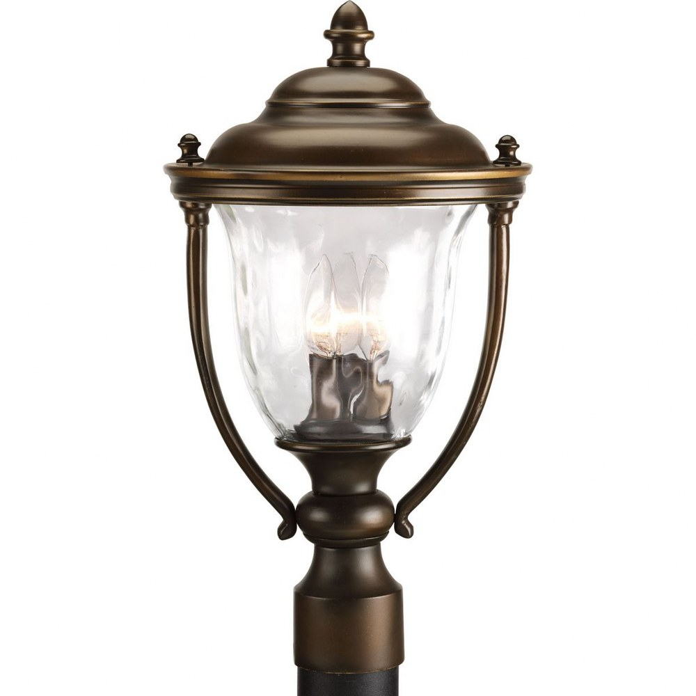 Progress Lighting-P5484-108-Prestwick - 18.75 Inch Height - Outdoor Light - 3 Light - Line Voltage - Wet Rated  Oil Rubbed Bronze Finish with Clear Hammer Optic Glass