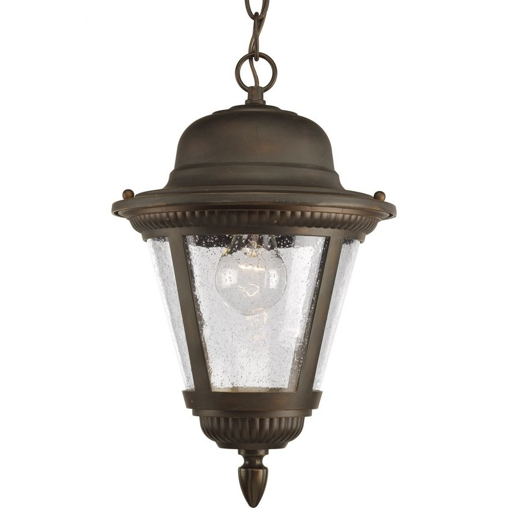 Progress Lighting-P5530-20-Westport - 14.625 Inch Height - Outdoor Light - 1 Light - Line Voltage - Damp Rated  Antique Bronze Finish with Clear Seeded Glass