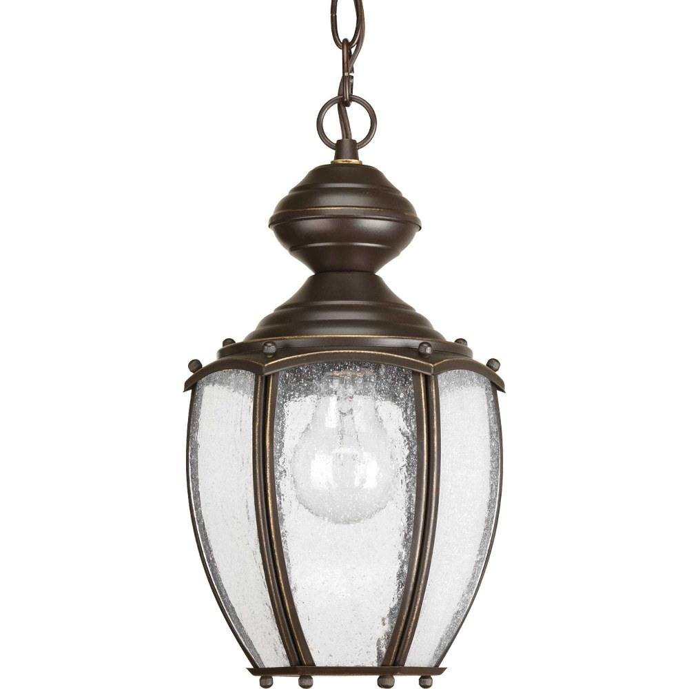 Progress Lighting-P5565-20-Roman Coach - 13 Inch Height - Outdoor Light - 1 Light - Curved Panels Shade - Line Voltage - Damp Rated  Antique Bronze Finish with Clear Seeded Glass