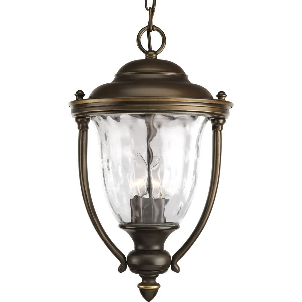 Progress Lighting-P5584-108-Prestwick - 17.75 Inch Height - Outdoor Light - 3 Light - Line Voltage - Damp Rated  Oil Rubbed Bronze Finish with Clear Hammer Optic Glass