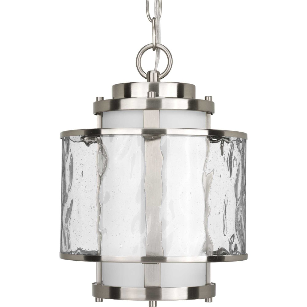 Progress Lighting-P5589-09-Bay Court - 8.75 Inch Width - 1 Light - Cylinder Shade - Line Voltage  Brushed Nickel Finish with Etched Opal/Clear Seedy Glass