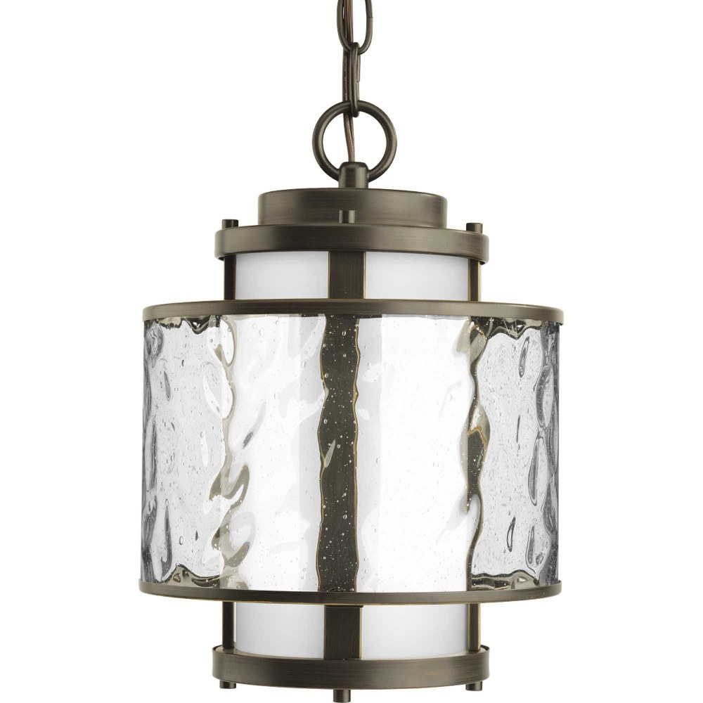 Progress Lighting-P5589-20-Bay Court - 8.75 Inch Width - 1 Light - Cylinder Shade - Line Voltage - Damp Rated  Antique Bronze Finish with Etched Opal/Clear Seedy Glass