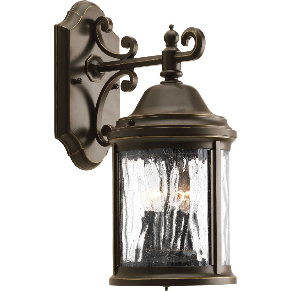 Progress Lighting-P5649-20-Ashmore - 14.8125 Inch Height - Outdoor Light - 2 Light - Curved Panels Shade - Line Voltage - Wet Rated  Antique Bronze Finish with Water Seeded Glass
