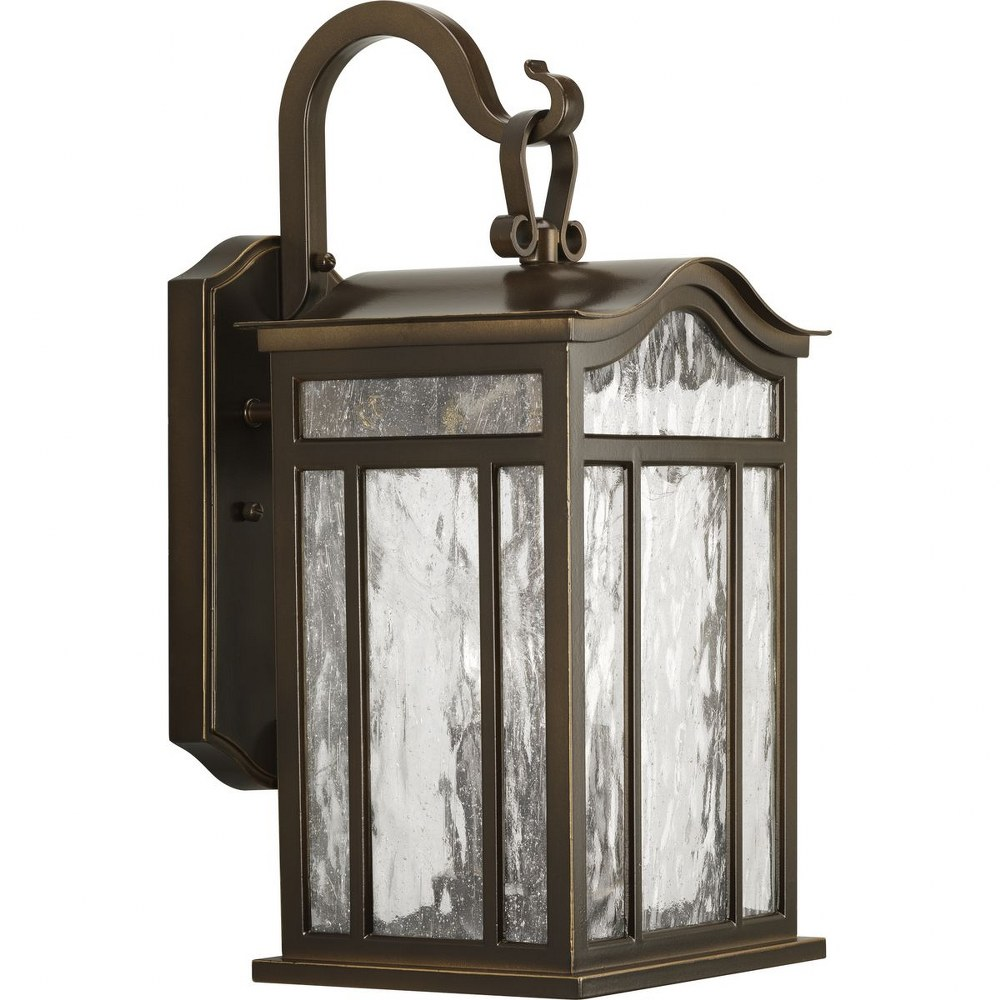 Progress Lighting-P5717-108-Meadowlark - 17.125 Inch Height - Outdoor Light - 3 Light - Line Voltage - Wet Rated  Oil Rubbed Bronze Finish with Water Seeded Glass