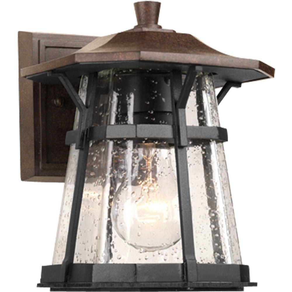 Progress Lighting-P5749-84-Derby - 8.625 Inch Height - Outdoor Light - 1 Light - Line Voltage - Wet Rated  Espresso Finish with Water Seeded Glass