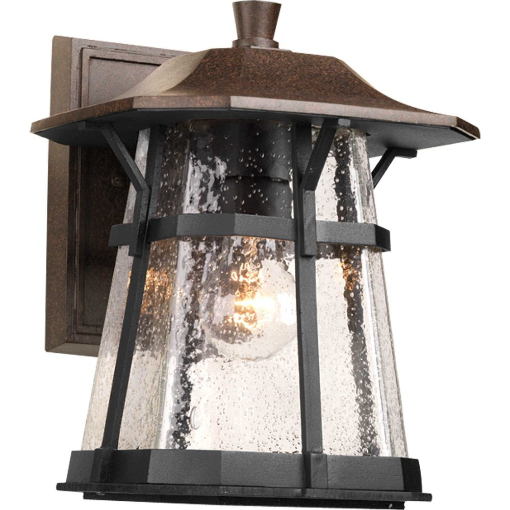 Progress Lighting-P5750-84-Derby - 11.25 Inch Height - Outdoor Light - 1 Light - Line Voltage - Wet Rated  Espresso Finish with Water Seeded Glass