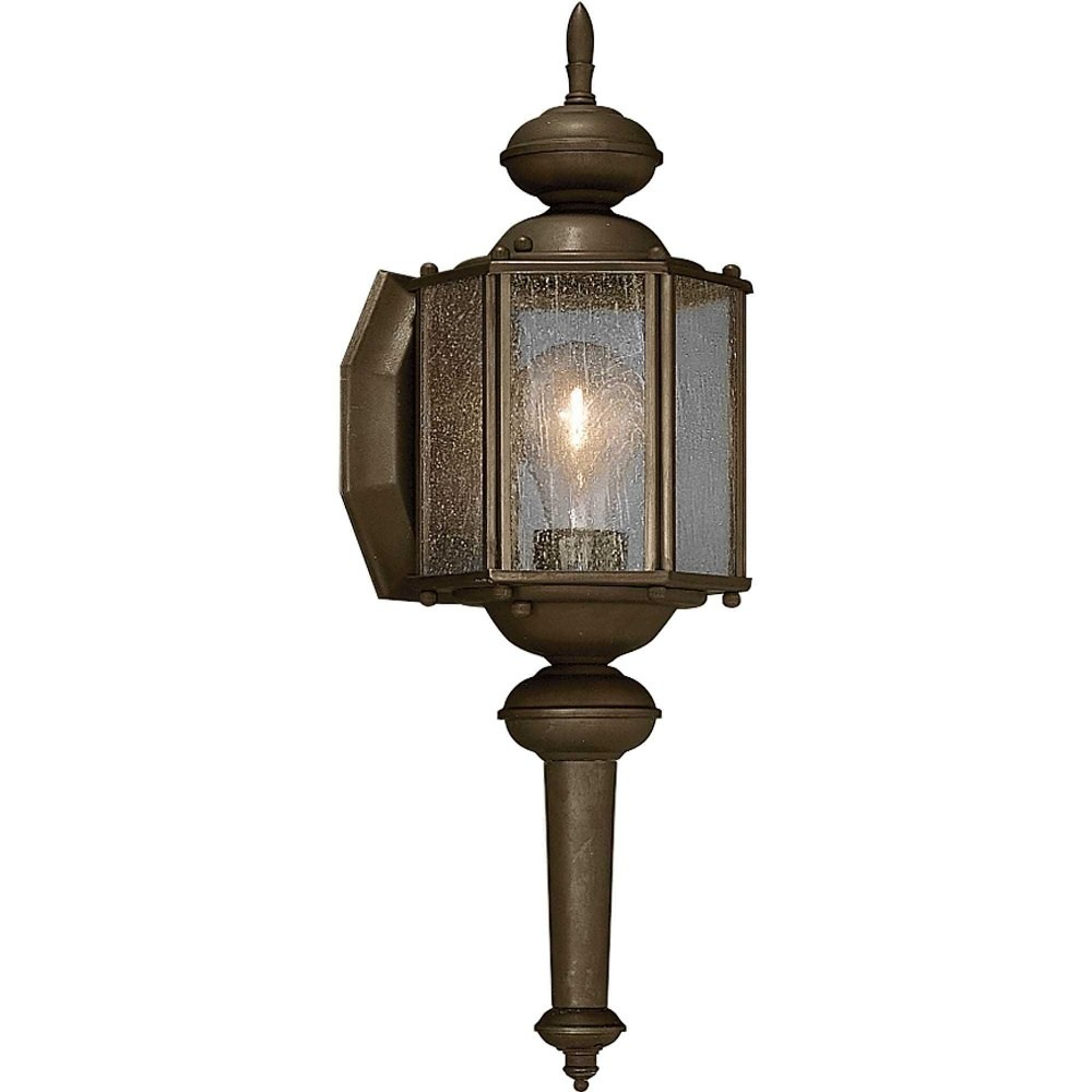 Progress Lighting-P5773-20-Roman Coach - 13.5 Inch Height - Outdoor Light - 1 Light - Line Voltage - Wet Rated  Antique Bronze Finish with Clear Seeded Glass