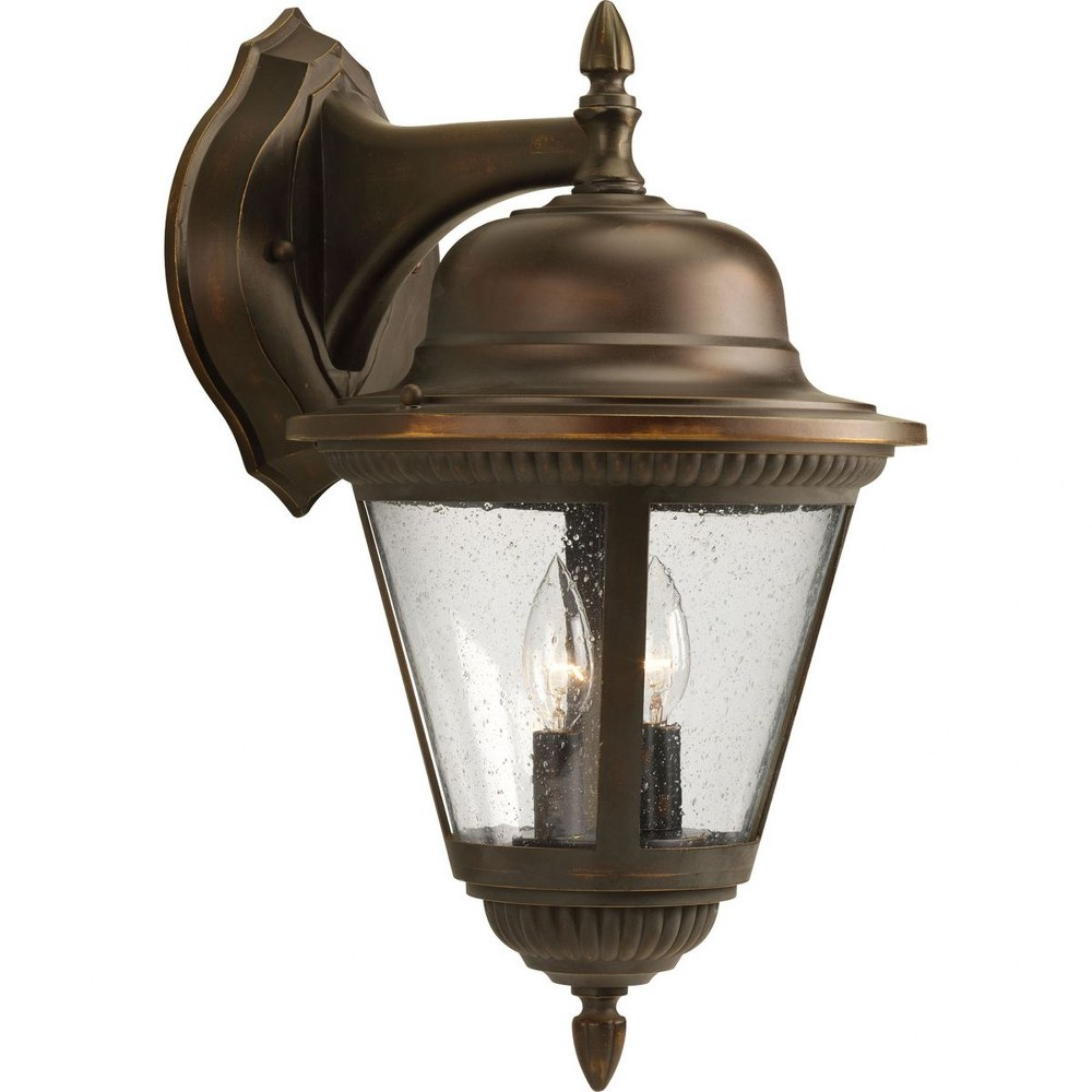 Progress Lighting-P5864-20-Westport - 19.25 Inch Height - Outdoor Light - 2 Light - Line Voltage - Wet Rated  Antique Bronze Finish with Clear Seeded Glass