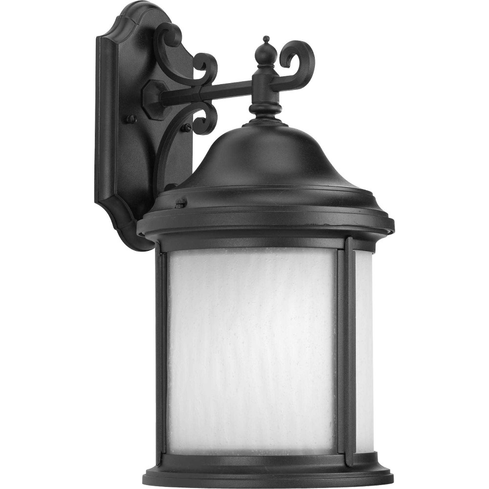 Progress Lighting-P5875-31WB-Ashmore - One Light Wall Lantern  Black Finish with Etched, Water Seeded Glass