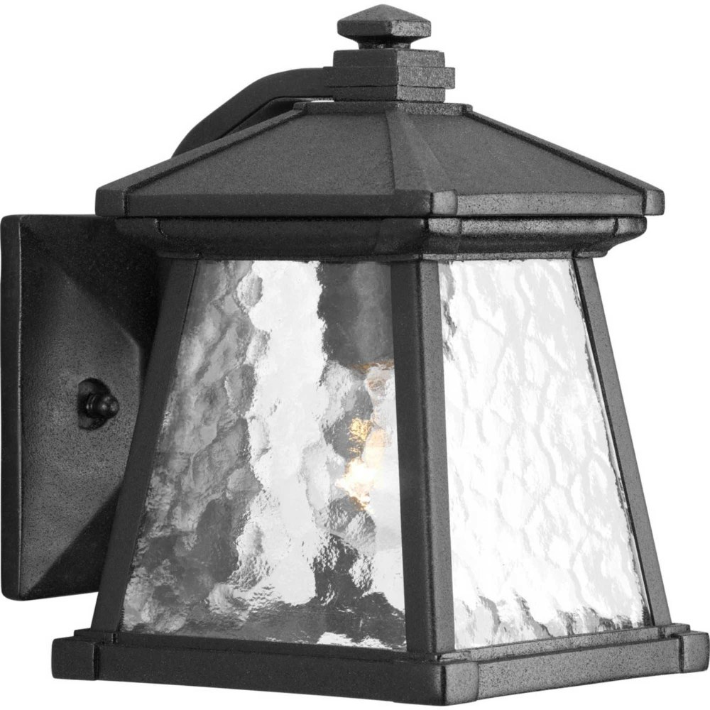 Progress Lighting-P5906-31-Mac - 8.5 Inch Height - Outdoor Light - 1 Light - Line Voltage - Wet Rated  Black Finish with Water Patterned Glass