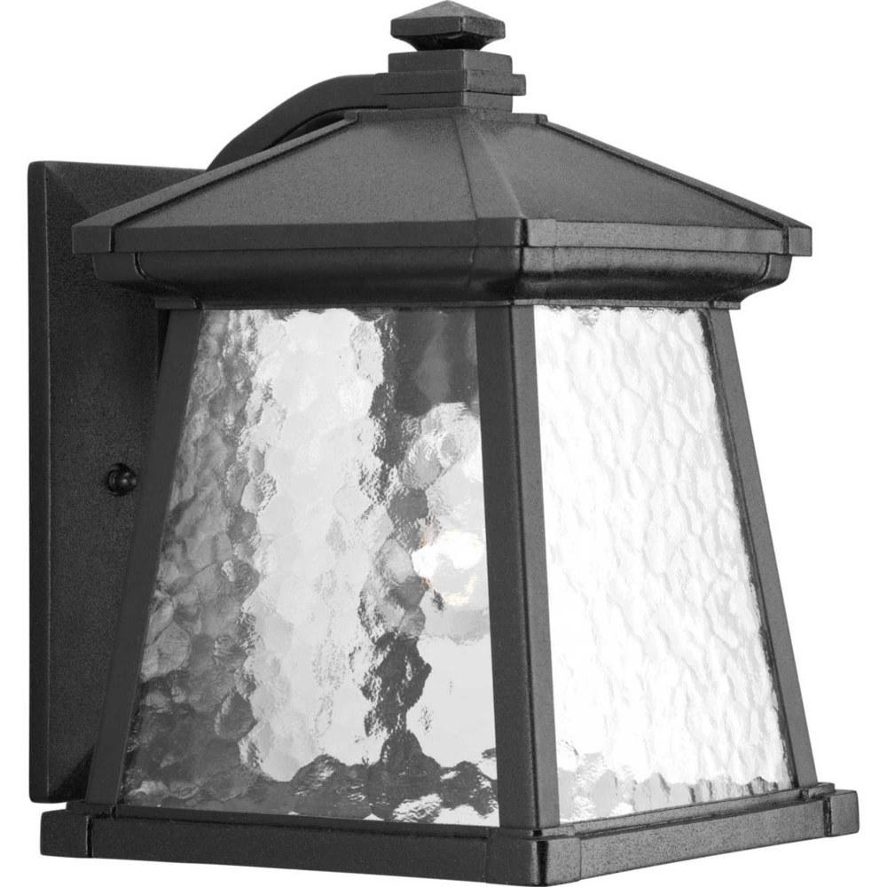Progress Lighting-P5907-31-Mac - 12 Inch Height - Outdoor Light - 1 Light - Line Voltage - Wet Rated  Black Finish with Water Patterned Glass