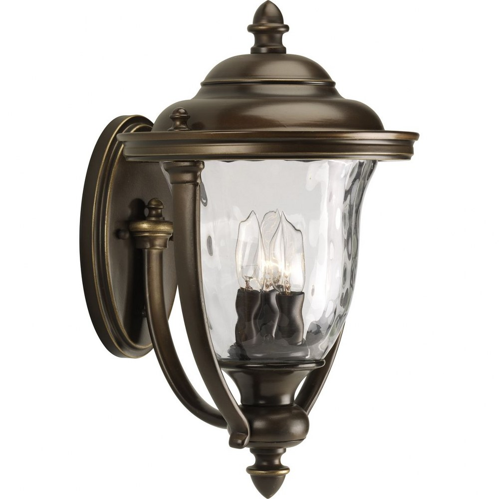 Progress Lighting-P5923-108-Prestwick - 16.75 Inch Height - Outdoor Light - 3 Light - Urn Shade - Line Voltage - Wet Rated  Oil Rubbed Bronze Finish with Clear Hammer Optic Glass with Urn Shade