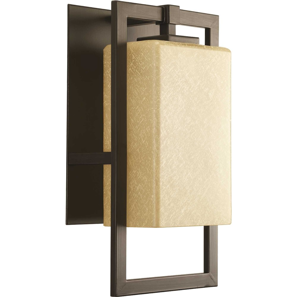 Progress Lighting-P5949-20-Jack - 15.25 Inch Height - Outdoor Light - 1 Light - Line Voltage - Wet Rated  Antique Bronze Finish with Etched Umber Flax Glass