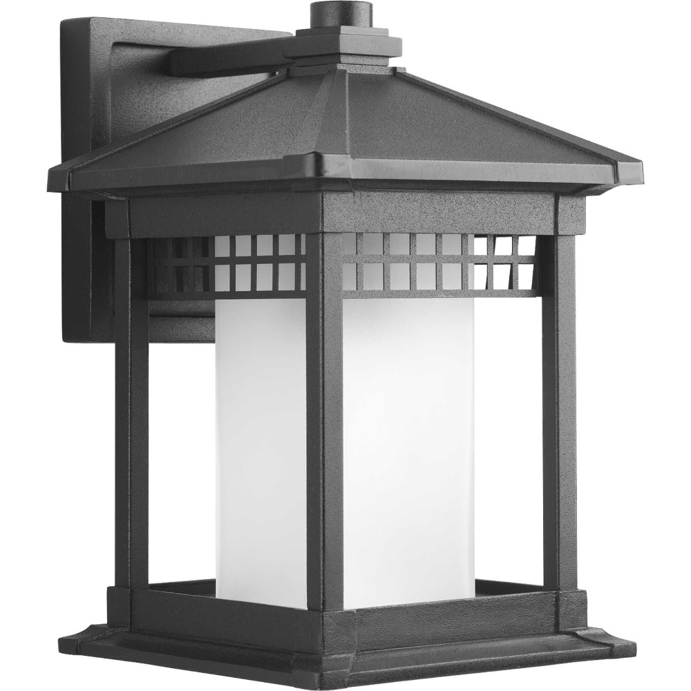Progress Lighting-P6001-31-Merit - 12.25 Inch Height - Outdoor Light - 1 Light - Cylinder Shade - Line Voltage - Wet Rated  Black Finish with Etched Glass