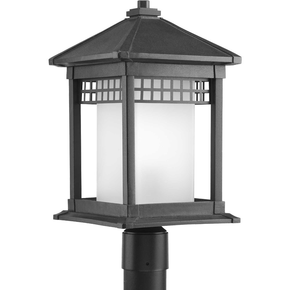 Progress Lighting-P6400-31-Merit - 18.75 Inch Height - Outdoor Light - 1 Light - Cylinder Shade - Line Voltage - Wet Rated  Black Finish with Etched Glass