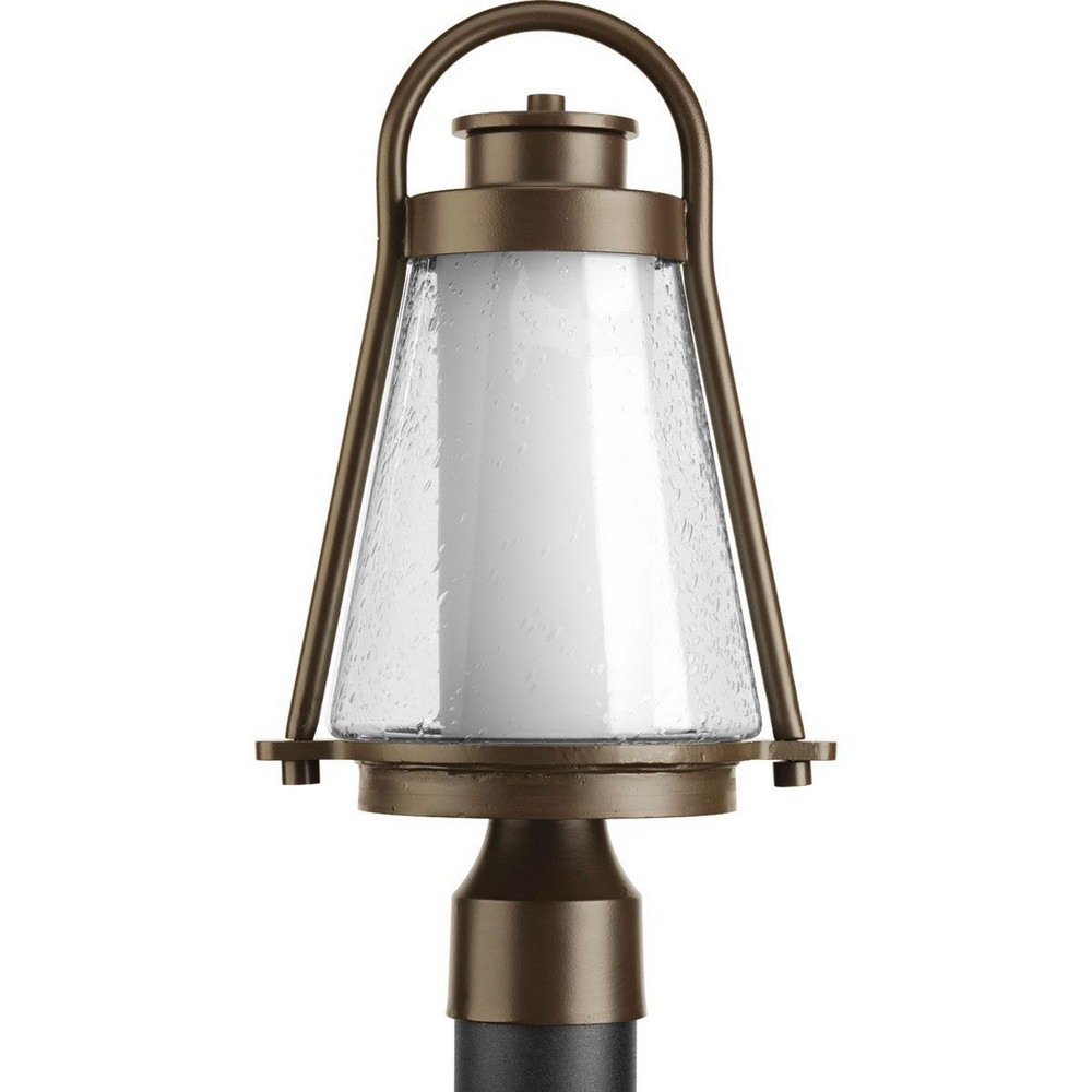 Progress Lighting-P6405-20-Regatta - One Light Medium Post Lantern  Antique Bronze Finish with Clear Seeded Glass