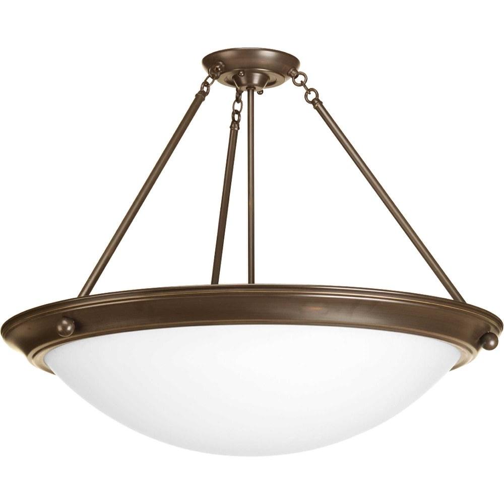 Progress Lighting-P7320-20WB-Eclipse - Four Light Semi-Flush Mount  Antique Bronze Finish with Satin White Glass