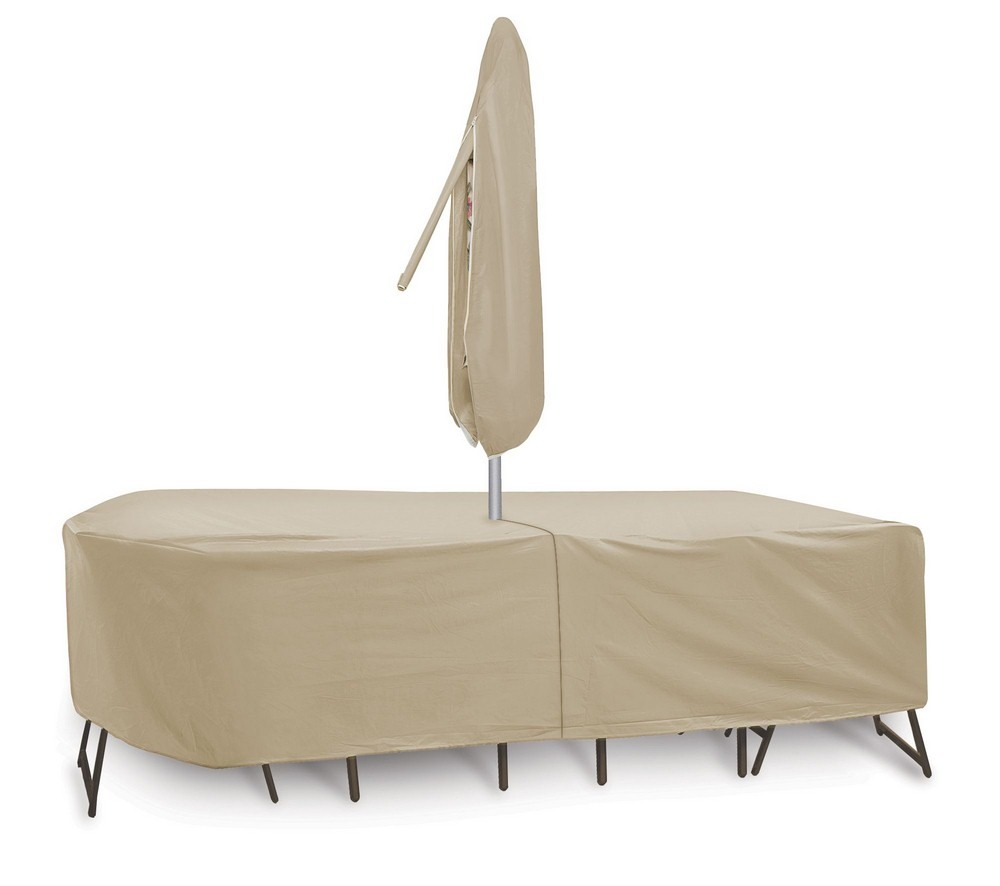 Protective Covers-1151-TN-135x60 Inch Oval/Rectangular Table and Chair Cover with Umbrella Hole  Tan Finish