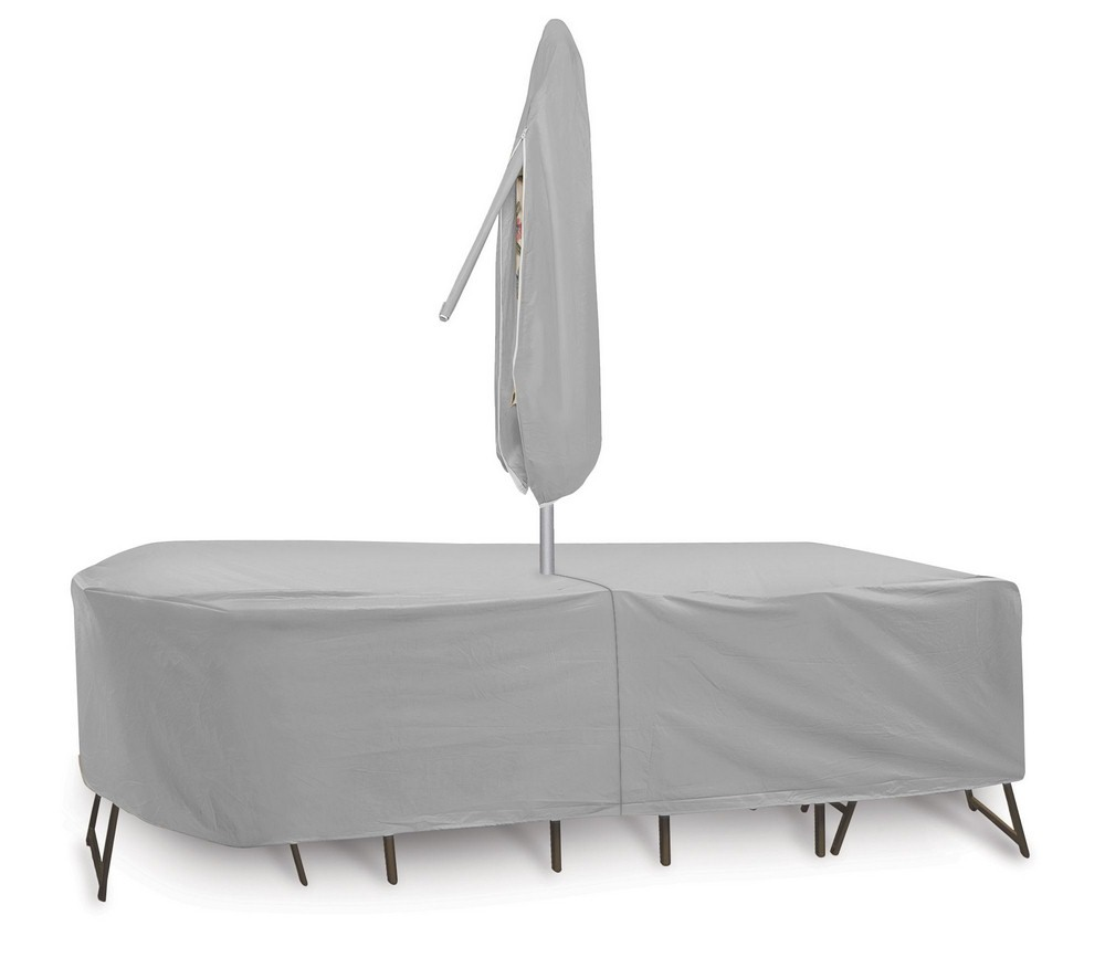Protective Covers-1157-108x60 Inch Oval/Rectangular Table and Chair Cover with Umbrella Hole  Gray Finish