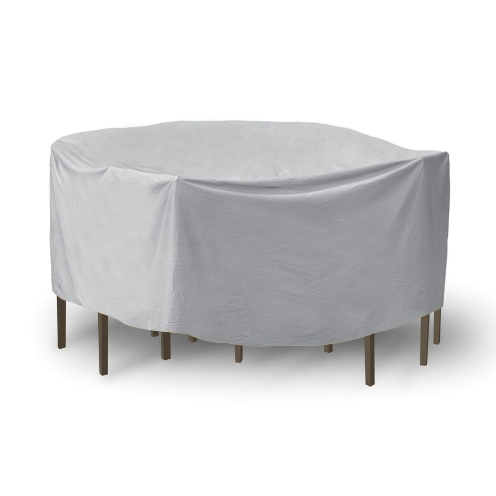 Protective Covers-1158-80 Inch Round Table with Chairs Combo Cover with Umbrella Hole  Gray Finish