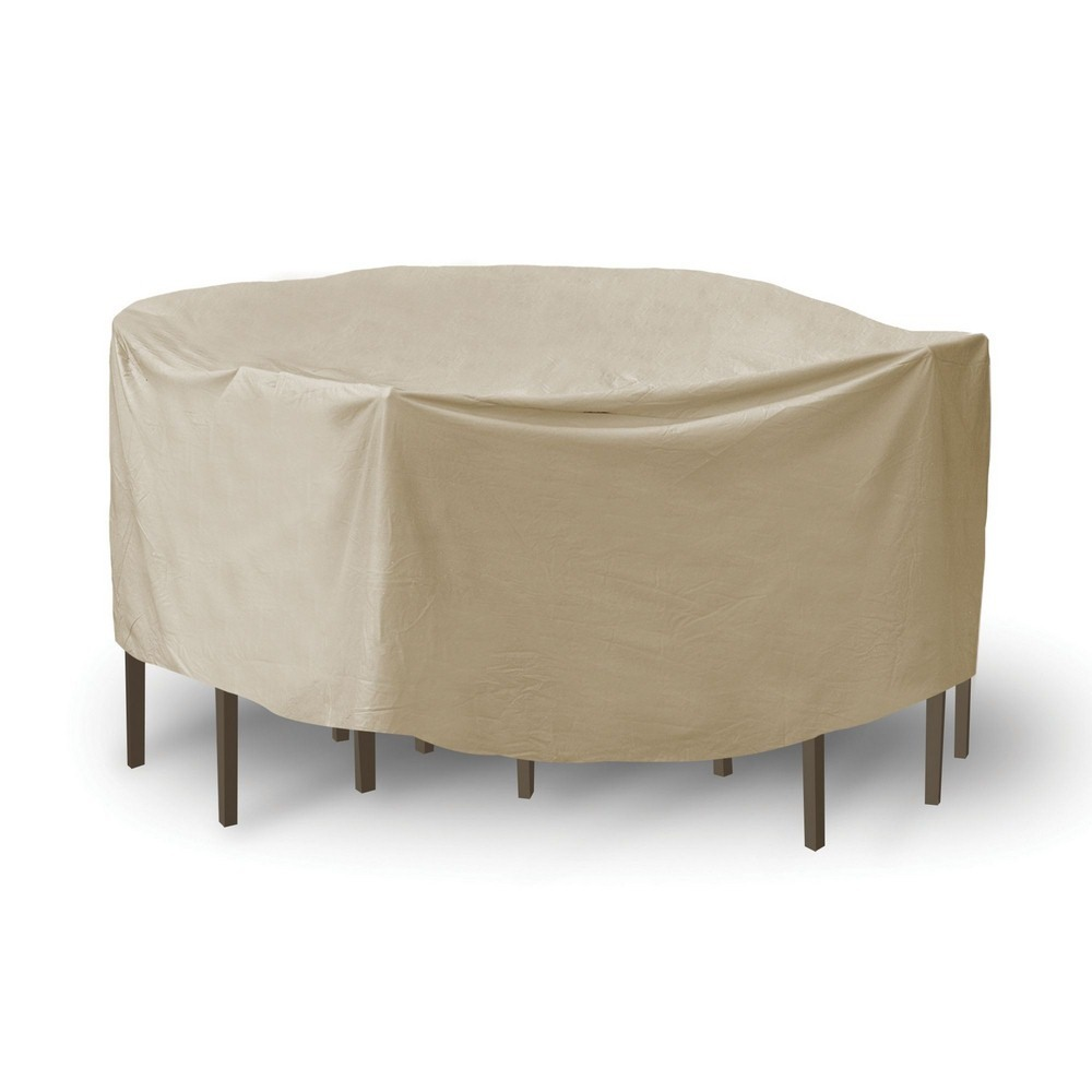 Protective Covers-1159-TN-92 Inch Round Table with Chairs Combo Cover with Umbrella Hole  Tan Finish
