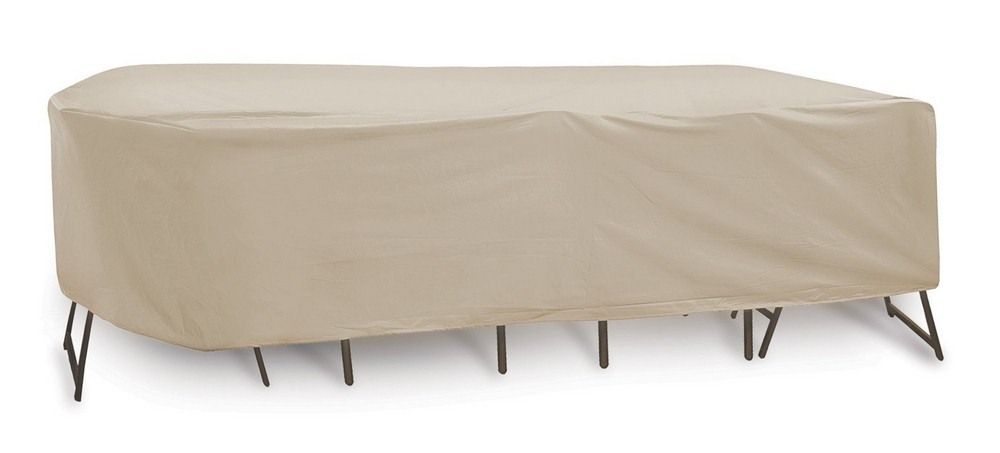Protective Covers-1340-TN-108x60x40 Inch Oval/Rectangular Table and Chair Cover without Umbrella Hole  Tan Finish