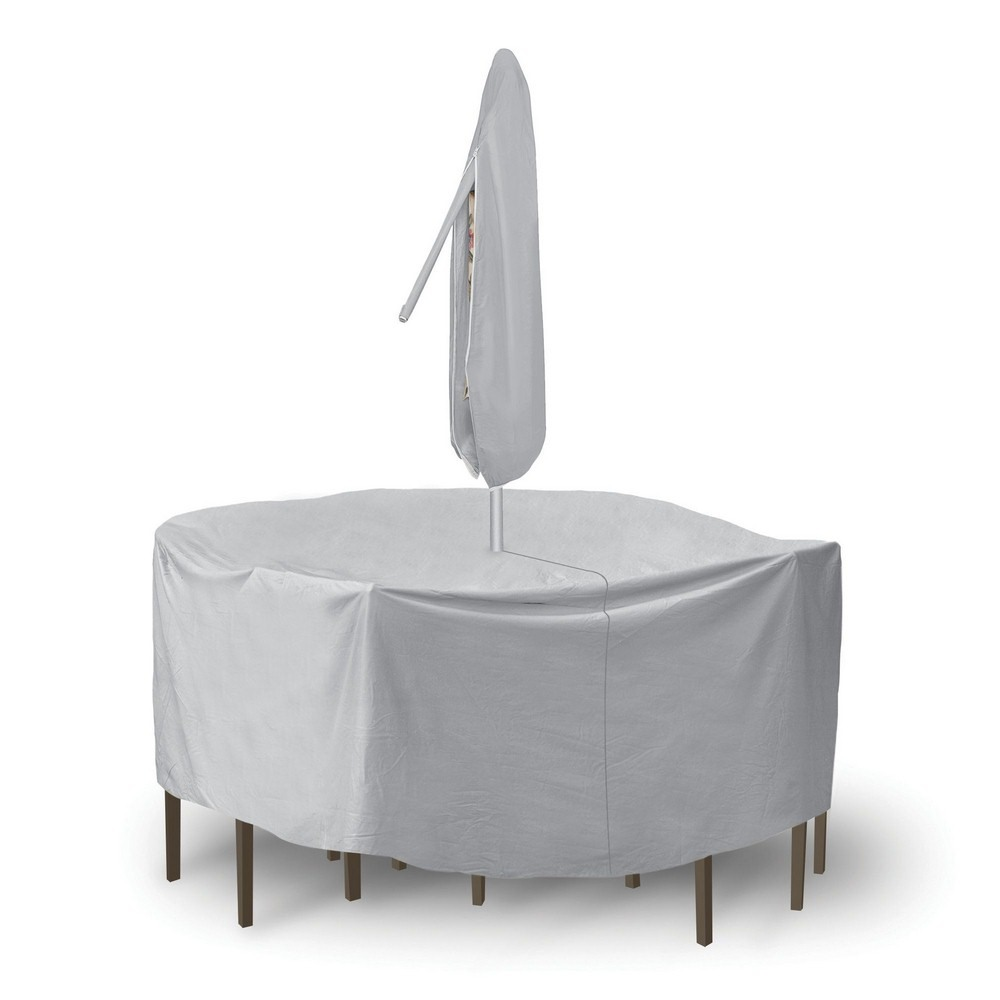 Protective Covers-1342-92 Inch Round Bar Table and Chair Cover without Umbrella Hole  Gray Finish