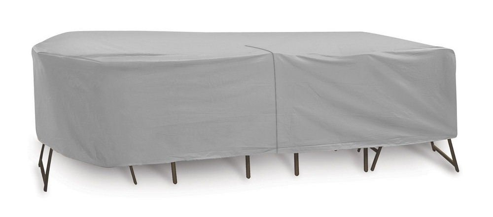 Protective Covers-1344-108x80 Inch Oval/Rectangular Table and Chair Cover without Umbrella Hole  Gray Finish