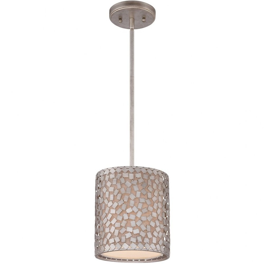 Quoizel Lighting-CKCF1508OS-Confetti - 1 Light Mini-Pendant  Old Silver Finish with Frosted Glass with Confetti/Off-White Linen Shade