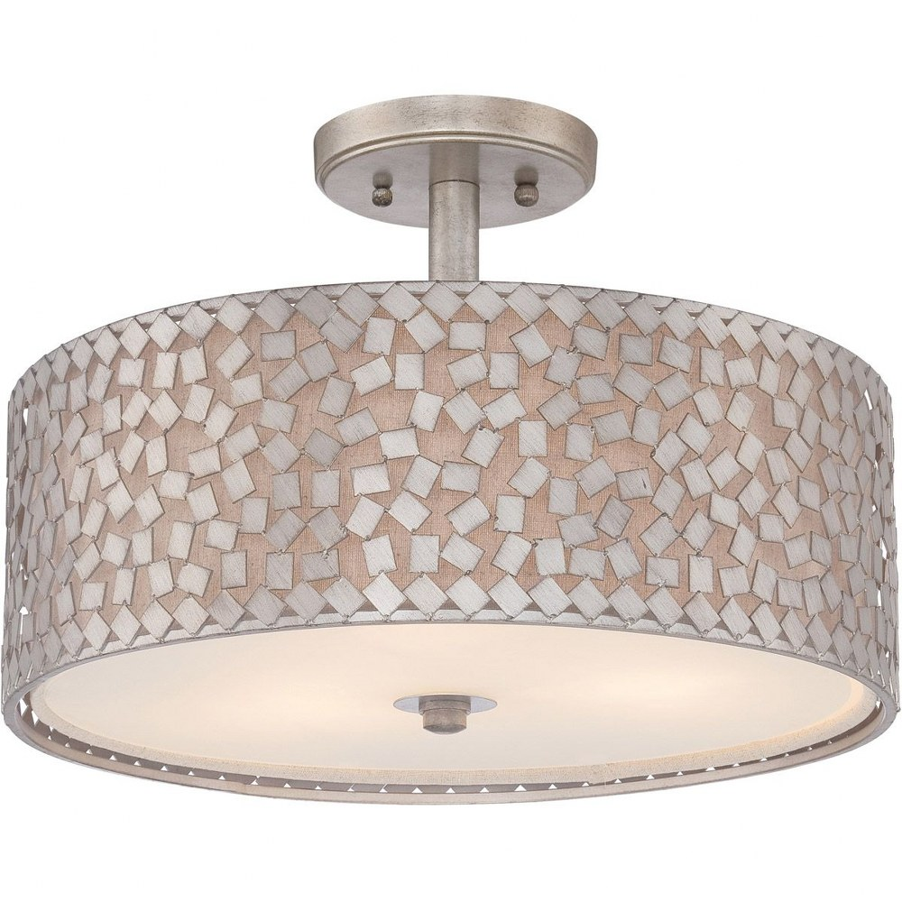 Quoizel Lighting-CKCF1717OS-Confetti - 3 Light Semi-Flush Mount  Old Silver Finish with Frosted Glass with Confetti/Off-White Linen Shade