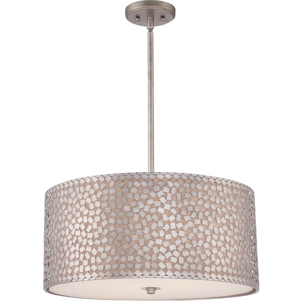 Quoizel Lighting-CKCF2822OS-Confetti - 4 Light Pendant  Old Silver Finish with Frosted Glass with Confetti/Off-White Linen Shade