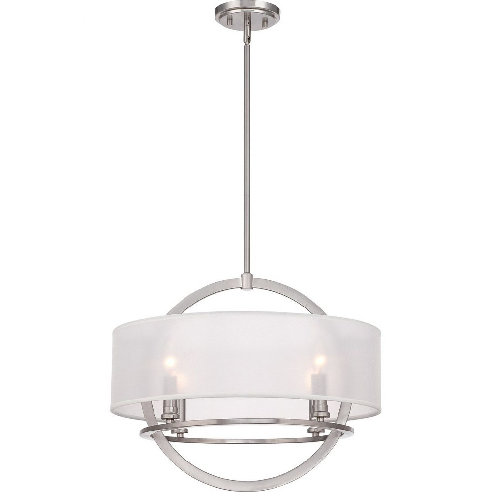 Quoizel Lighting-PTD2820BN-Portland - 4 Light Pendant  Brushed Nickel Finish