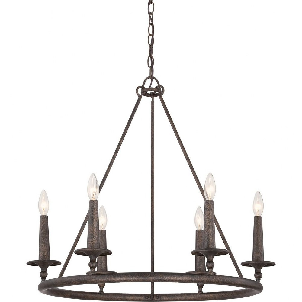 Quoizel Lighting-VYR5006ML-Voyager Chandelier 6 Light  Steel  Malaga Finish