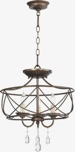 Quorum Lighting-2716-16-86-Cilia - Three Light Dual Mount Pendant  Oiled Bronze Finish