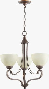 Quorum Lighting-6031-3-86-Lariat - Three Light Chandelier  Oiled Bronze Finish with Amber Scavo Glass