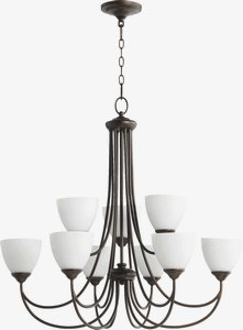 Quorum Lighting-6050-9-86-Brooks - Nine Light 2-Tier Chandelier  Oiled Bronze Finish with Satin Opal Glass